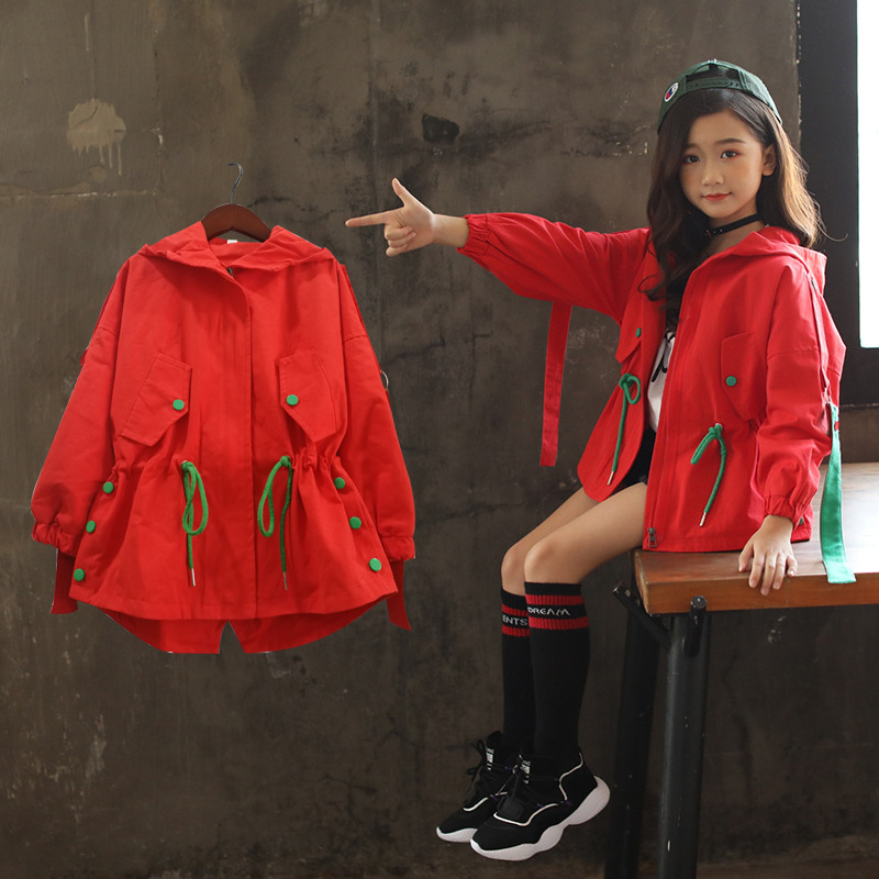 Girls Clothes 4 14 Y Spring Autumn Hooded Long Sleeve Fashion Lovely Heart Coat Girls Casual Warm Windbreaker Outdoor Jacket|Trench| |  - title=