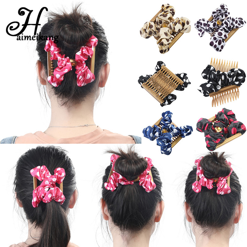Haimekang Cute Point Pattern Magic Hair Comb Elasticity Double Hairpin for Girls Stretchy Hair Combs Magic Clips   Headwear