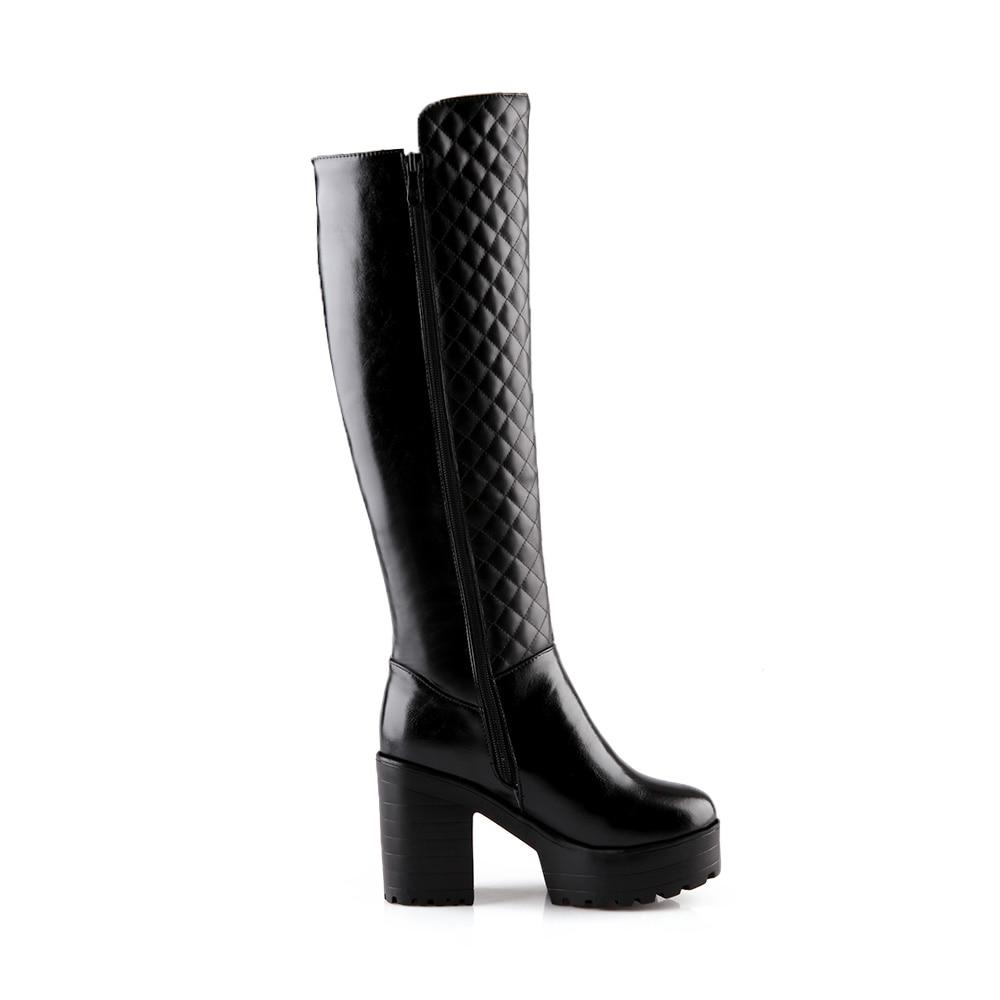 Nueva Negro Tacones Toe Cuadrados Zip De Manera Ronda Altos Rodilla Blanco La blanco Pu Botas Zapatos Plataforma Mujer alta 2018 Llegada Negro RwSadR