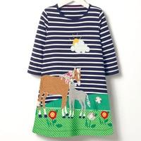 子供のトップカジュアルストライプ綿子供ロングtシャツ漫画馬食べる草太陽の花柄ドレス女の子服かわいいドレ