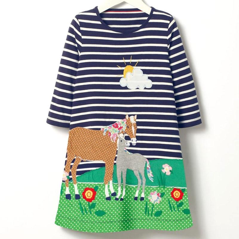 Childrens Top Casual Stripe Cotton Kid Long T-shirts Cartoon Horse Eat Grass Sun Flower Pattern Dresses Girl Clothes Cute Dress