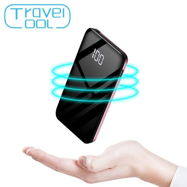 Travelcool 8000 mAh Портативный Мощность Bank USB Quick Charge Встроенный кабель Зарядное устройство Комплекты внешних аккумуляторов Мощность bank Мини повербанк