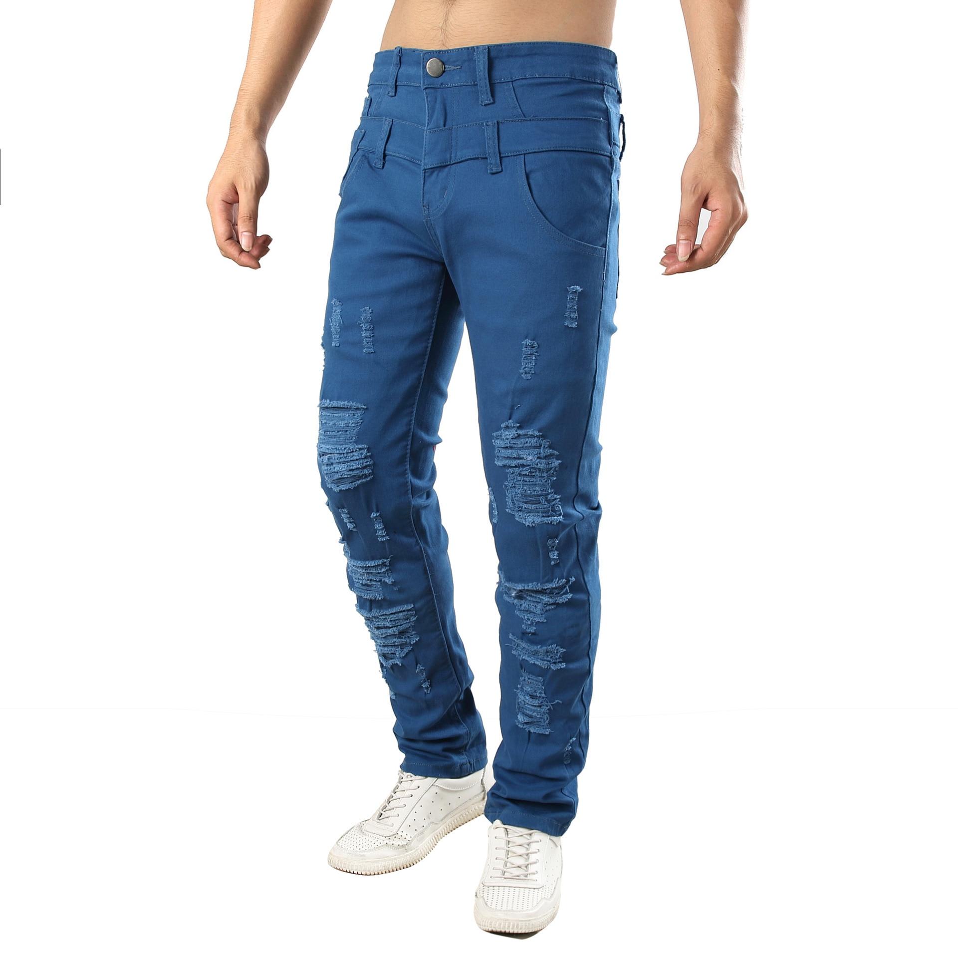 Mens beggar Hole denim jeans retro slim Elasticity denim jeans  pants trousers
