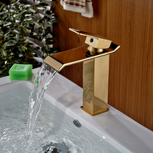 Luxury Golden Deck Mount Waterfall Bathroom Vanity Sink Faucet Single Lever Hot Cold Water Mixer Taps