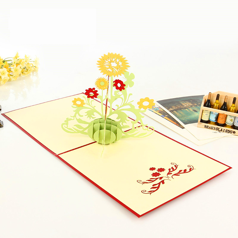 15CM*15CM Pop Up Floral Cards 3D Greeting Christmas Cards Lace Cut Sunflower Postcards Vintage Thanksgiving Gifts For Loved One