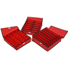 Foldable Non-Woven storage box  Red Love Underwear/Bra Socks Storage Box 3pcs/set Free shipping