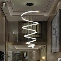 Европейский Хрустальная люстра Отель вилла гостиная современный минималистский атмосферу роскоши дуплекс кольцо зал полосы лампы светоди