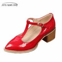 פטנט עור עור אמיתי נשים אדום אוקספורד נעלי קיץ סנדלי נשים בעבודת יד 5 ס