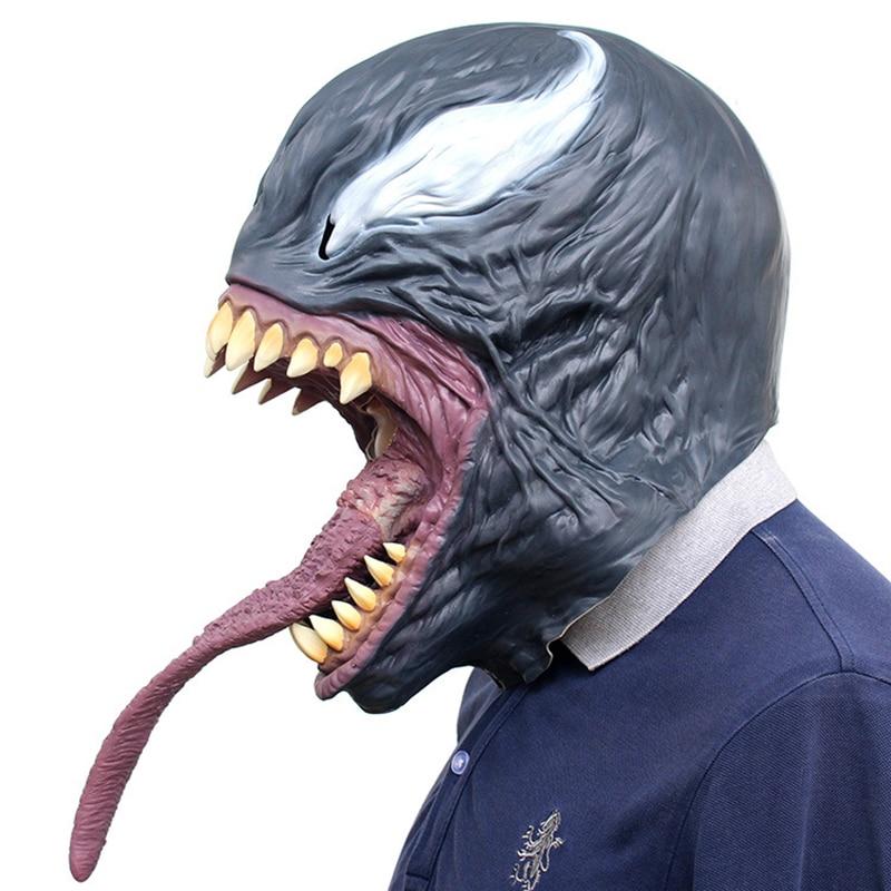 Scary Spider-Man The Venom Mask Cosplay Spider-Man Edward Brock Dark Superhero Venom Latex Masks Helmet Halloween Party Props