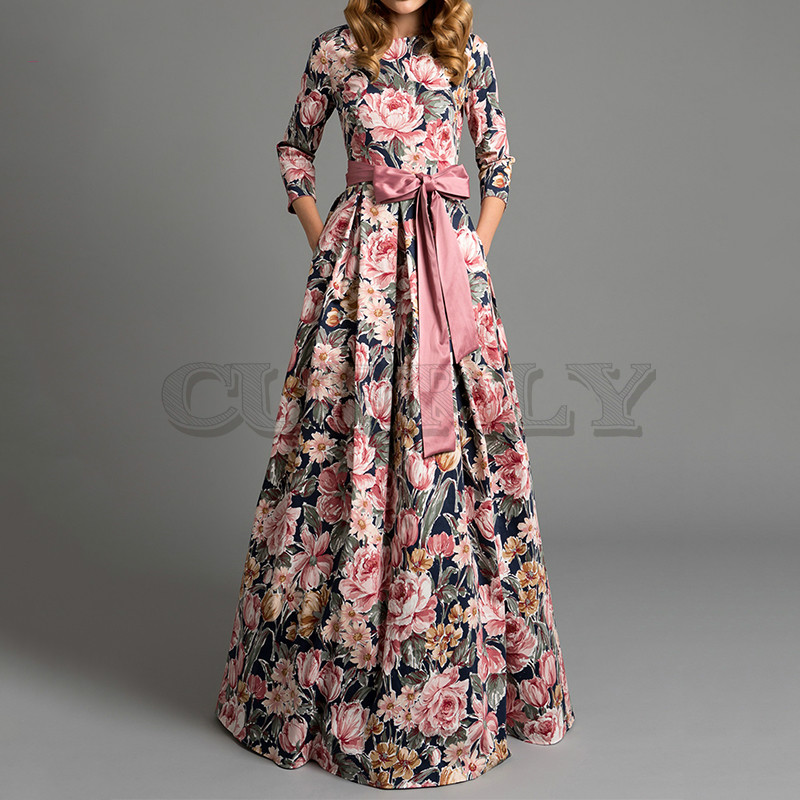CUERLY Bohemian printing long dress O-neck 3/4 sleeve big hem women spring summer elegant casual de