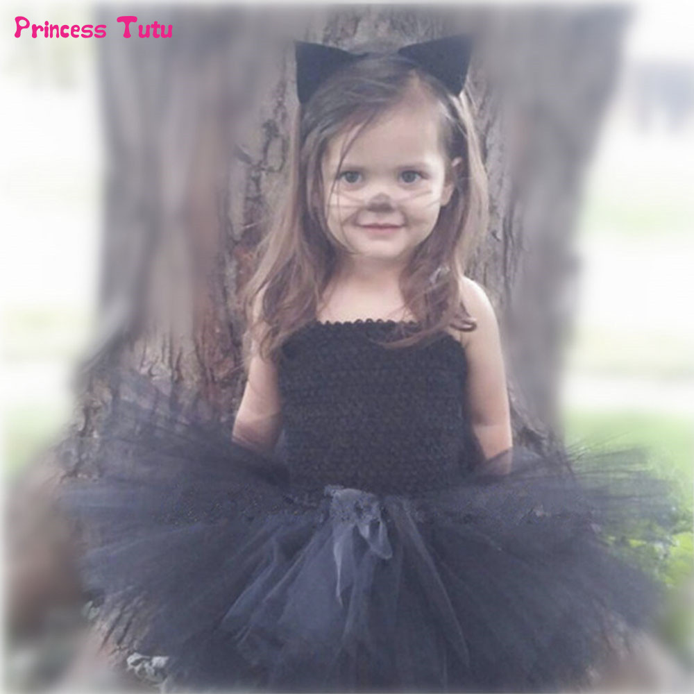 Black Tutu Dress Baby Girls Cosplay Cat Halloween Dresses Costume For Kids Ball Gowns Tulle Children Girl Birthday Party Dress fluffy cosplay halloween party cat faux fox fur ears costume hairpin hairband black white purple leopard black