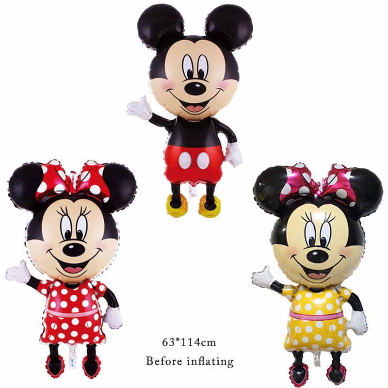 1PC Mickey Minnie Mouse Balões Folha Feliz Aniversário Decoração Do Partido Mini Cabeça Mickey Mickey Médio Balão Cabeça das Crianças brinquedo
