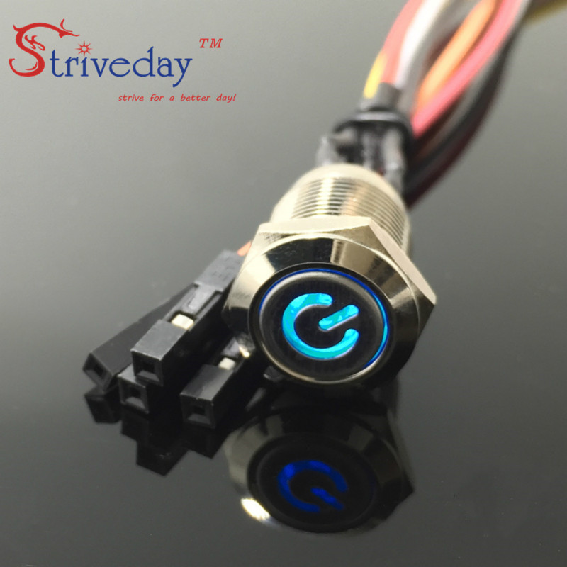 цена на Internet cafes computer one machine start 3-Colors 12mm metal power symbol with light button switch 5V motherboard 50cm line