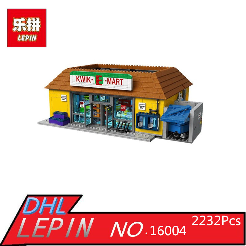 LEPIN 16004 2232Pcs Simpson Model set Building Kits Model Educational Children Day's Gift Compatible  71016 new lepin 16008 cinderella princess castle city model building block kid educational toys for children gift compatible 71040