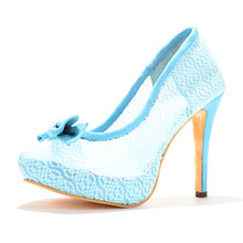 White Lace Cut-Outs Soft Leather Women's Stiletto Heel Sandals Shoes Butterfly-knot chaussure femme Cover Heel Slip-On Platform