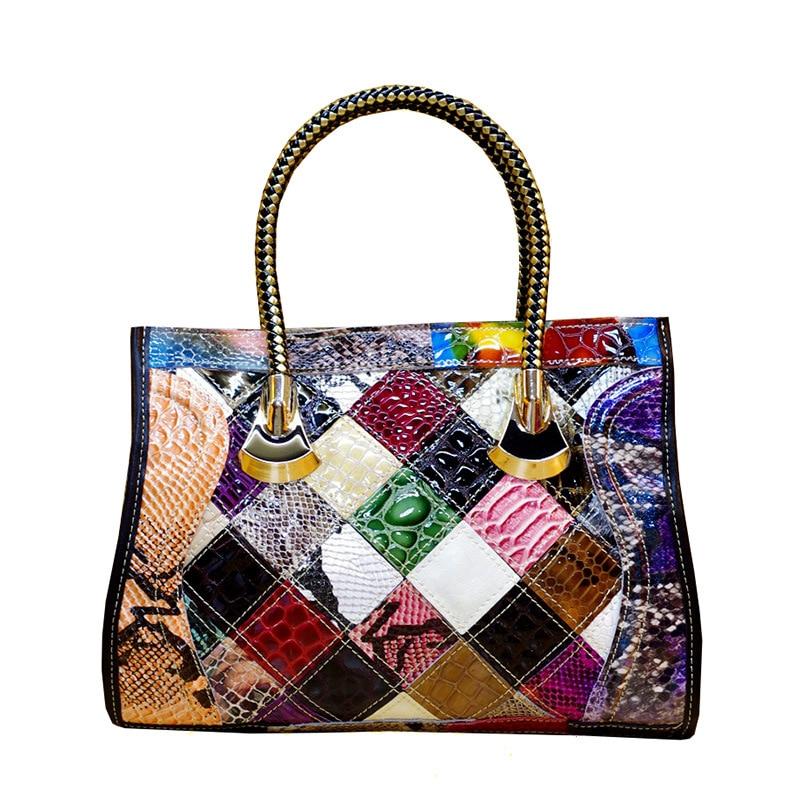 Fashion Handbag Famous Designer Luxury Genuine Leather Shoulder Bags For Women Serpentine Panelled Ladies Large Hand Tote Bag