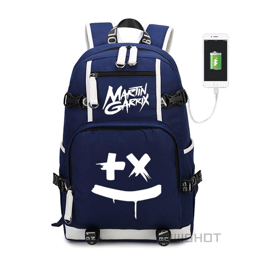 WISHOT Martin Garrix multifunction USB charging Backpack for teenagers Men women s School Bags travel Shoulder