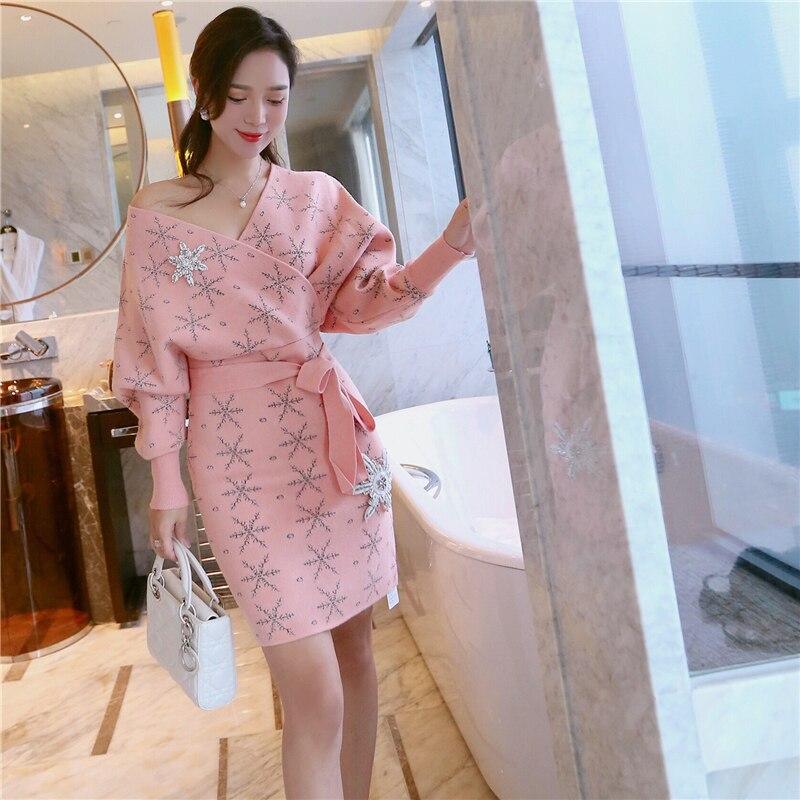 2018 rose Sexy boîte de nuit femmes printemps hip wrap fesses robe femme formelle occasion courte pull tricoté robe
