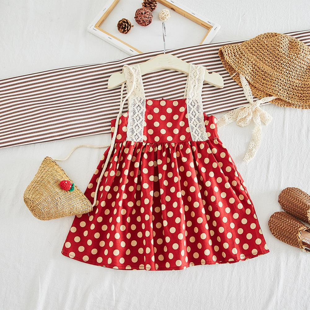Everweekend Cute Baby Lace Pint Dot Lovely Girls Kids Holiday Dress Summer Ins Hot Sell Ruffles Red Color Beach Fashion Sundress