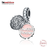 LZESHINE Real 925 Sterling Silver Sweet Mother Flower Pendant Enamel Charms Beads Fit Original Bracelets Jewelry