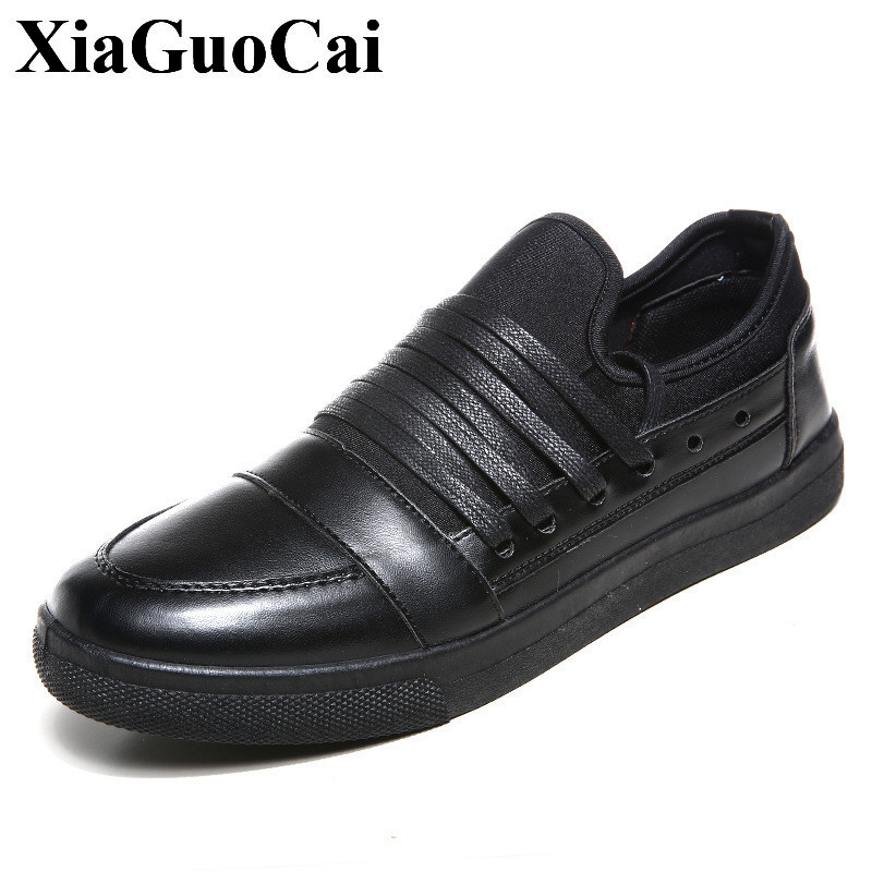 New Fashion Casual Shoes Men Lace-up Flats Shoes Skate Shoes Spring&autumn Round Toe Breathable Non-slip Black Men Shoes H440 35 spring autumn new men driving shoes fashion breathable leather casual shoes korean version lace up rubber men shoes z180