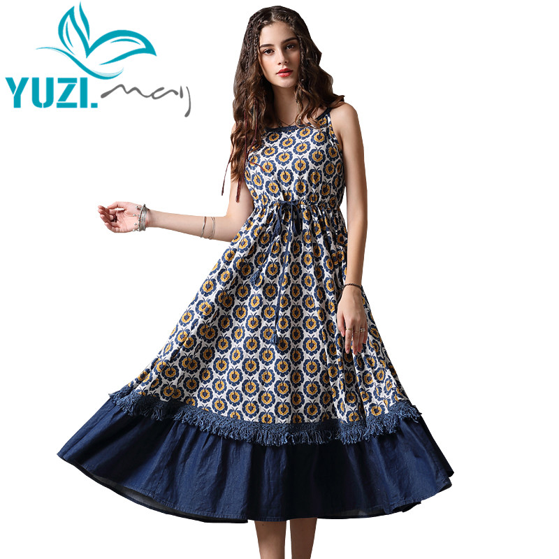 Summer Dress 2018 Yuzi may Boho New Denim Vestidos Floral Print High Waist Sleeveless Swing Hem