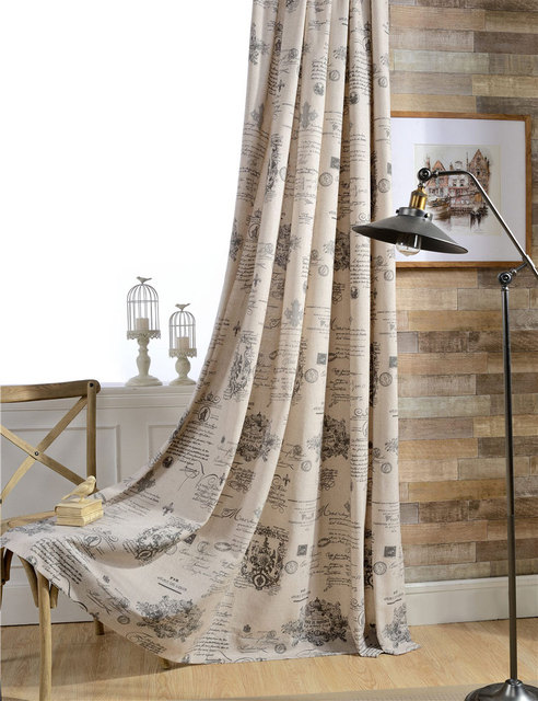 Decorative Room Divider Living Kitchen Beige Vintage Curtains English Pattern Polyester Cotton Printed Window Drapes