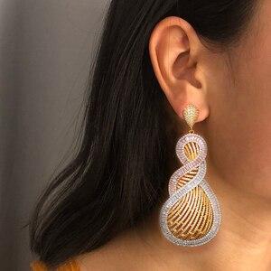 Image 2 - GODKI 90mm Luxury Tricolor Dangle Earrings Trendy Cubic Zircon Wedding Engagement Party Indian gold earrings for women 2019