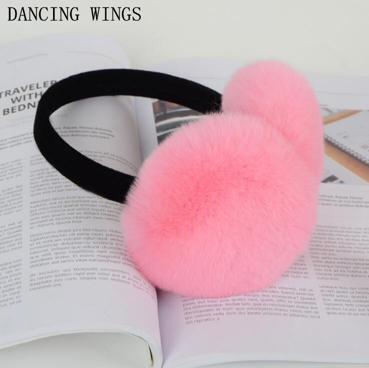 Women Winter Earmuffs Real Rabbit Fur Warm Earmuffs Lovely Earlap Russian Female Genuine Fur Plush Ear Muff Natural Fur