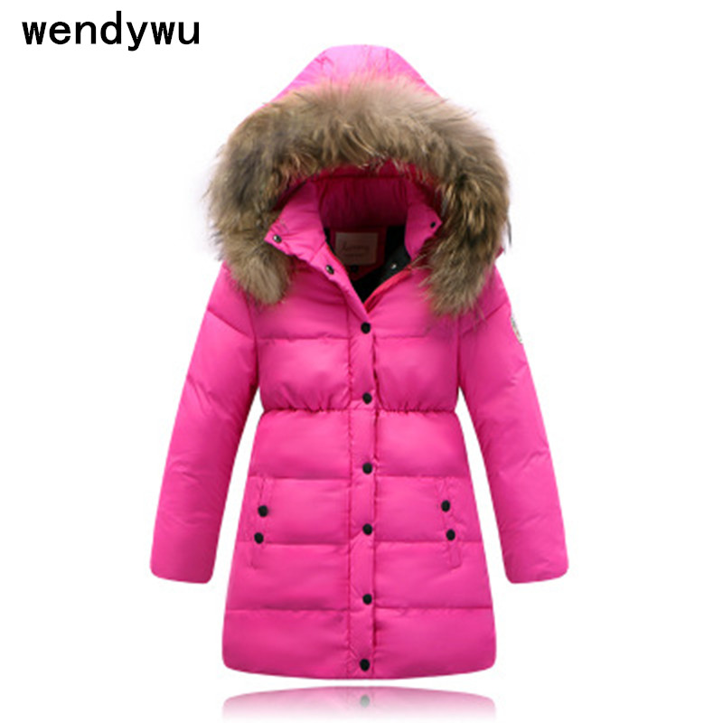 WENDYWU 2017 New children 's down jacket long thicker children' s clothing large wool collar warm jacket multicolor winter coat stylish turn down collar long sleeve zip pockets women s black jacket