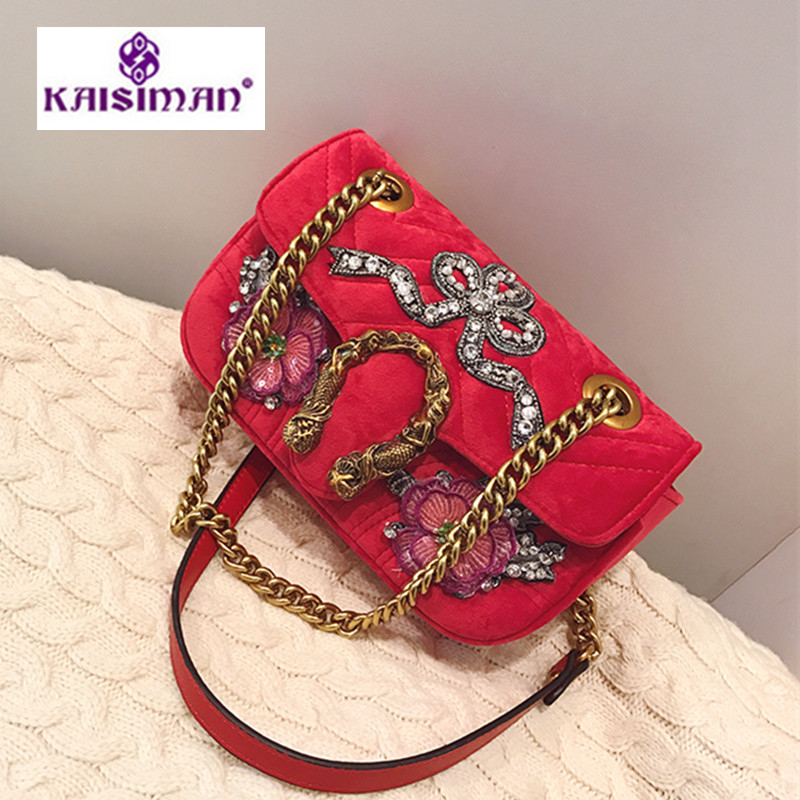 Brand Women Bag Handbag Diamond Embroidery Velvet Shoulder Bag Luxury Designer Chain Crossbody Bags Lady Clutch Hot Louis gg Bag luxury brand women chain handbag patchwork leather handbag clutch purse famous designer crossbody bags sac a main louis gg bag