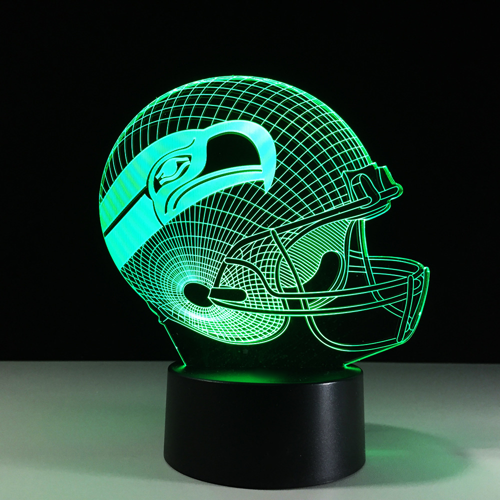 3D Football Helmet Night Light Changeable Mood Table Lamp LED Rugby Cap Eagle USB Bedside Decor Baby Sleep Light Fixture Gifts