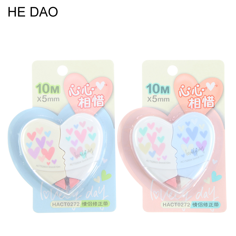 2 Pcs Love Heart Correction Tape Material Escolar Kawaii Stationery Office School Supplies Papelaria Correction Supplie
