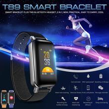 2-in-1 Smart Bracelet Fitness Tracker TWS Bluetooth5.0 Earphone IP67 Waterproof Sports Wristband Headphones with bracelet