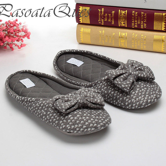 Cute Bowtie Home Slippers Women House Shoes Girls For Bedroom Adult Female  Slippers Warm Winter Girls