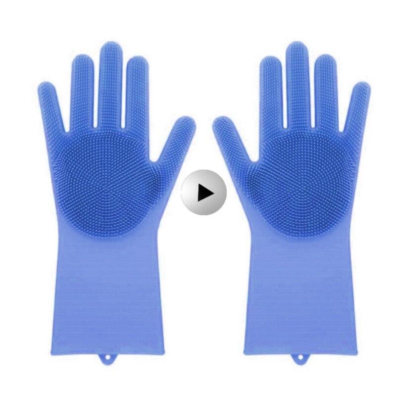 Hohe Magie Silikon Rubber Dish Waschen Handschuhe Umweltfreundliche Reinigung Handschuhe Dish Waschen Gummi Handschuhe Geschenk für Frauen