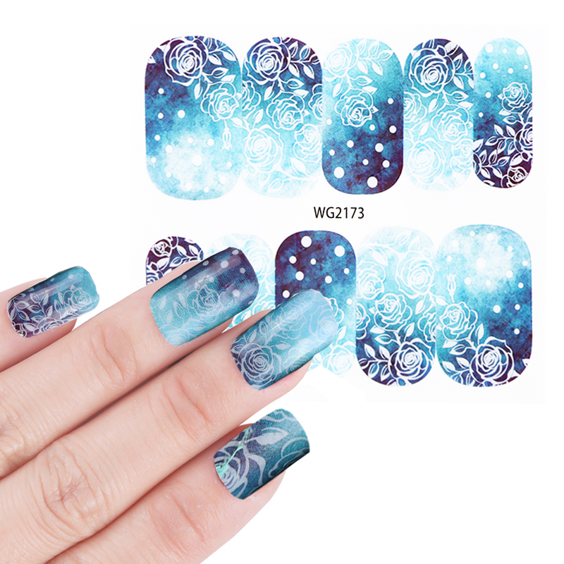 1 Sheet Hot Designs Watermark Full Rose Fantasy Deep Blue Nail Art Sticker Foils For Diy Manicure Decorations Bewg2173 In Stickers Decals From Beauty