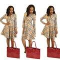 2016 Venta Caliente Ropa de Mujer 2017 Primavera Y el Verano La Moda Africana Impresión de la Tela Escocesa Ropa De Cuello V Mujeres Africanas de Manga Siete