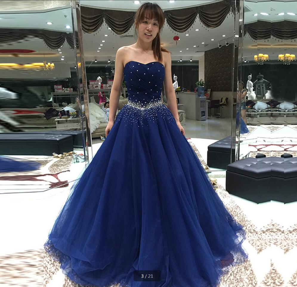 321fa47323c Aliexpress.com   Buy 2016 real picture navy blue beading prom dress  glamorous crystals evening dresses strapless pleated puffy prom gowns hot  sale from ...