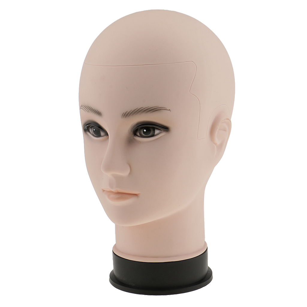 Male Mannequin Manikin Head Hair Wig Eye Glasses Holder Hat Display Model Stand - Skin Color/ 12'' - For Stores Salons