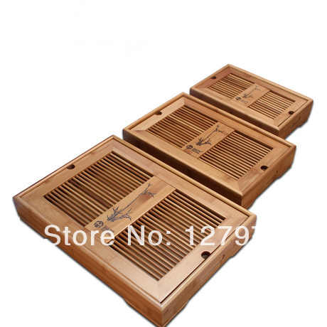 kung fu tea tray water storage drawer type drainage bamboo tea tray Small size 28*18*6.5cm, teaset