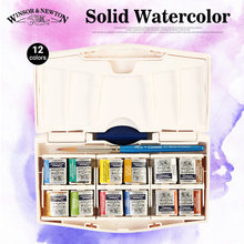 Bgln Solid Watercolor Paints Pocket PLUS Set,12 Half Pans Watercolor Cakes With a Pointed Brush Aquarela
