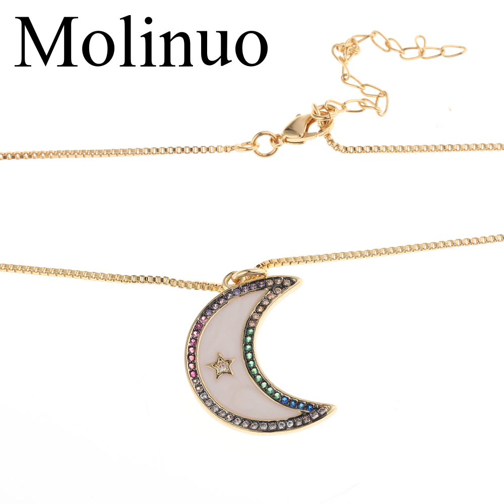 2019 Molinuo Natural Shell Cresent Moon White pave colorful cz star Pendant Necklace for women in Pendant Necklaces from Jewelry Accessories