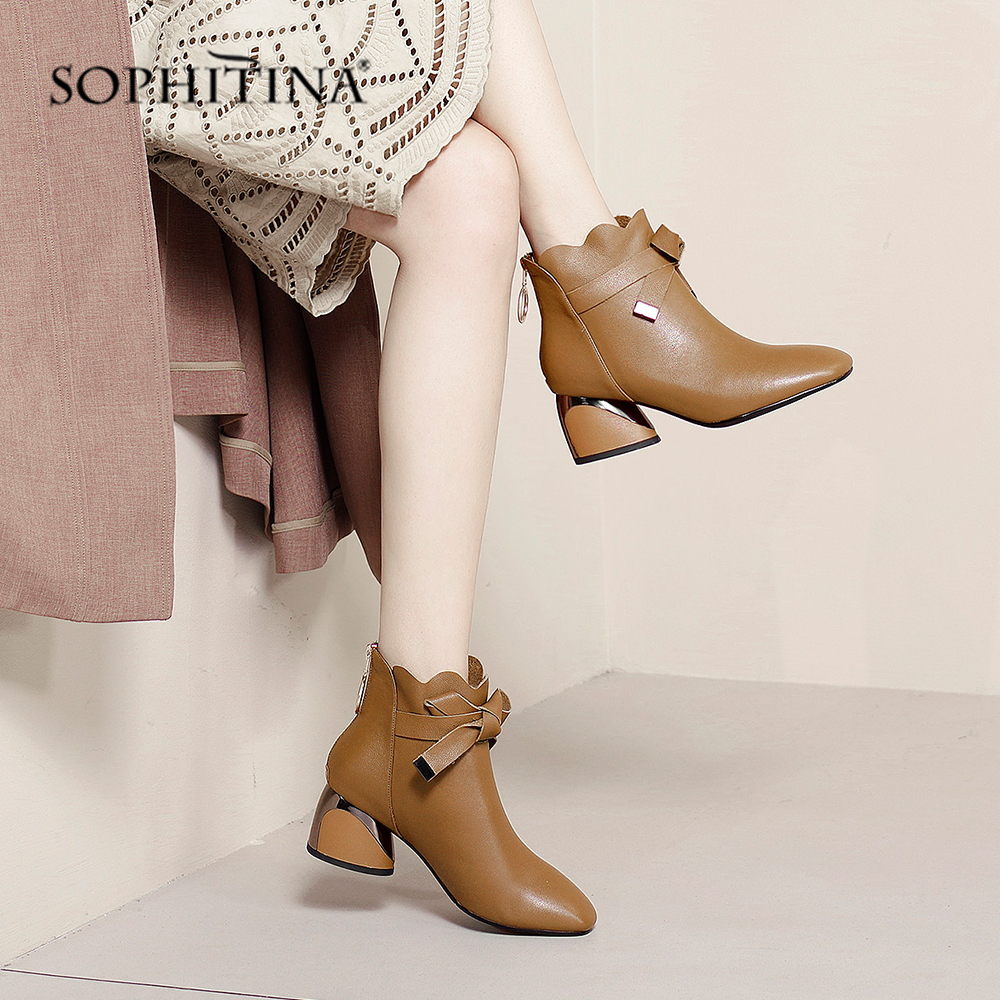 SOPHITINA Fashion Women 39 s Boots Comfortable Square Toe Special Design Butterfly knot Shoes Hot Sale Square Heel New Boots PO209 in Ankle Boots from Shoes