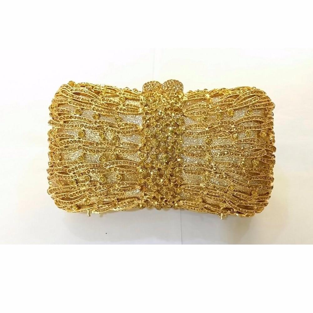 ФОТО 8320GD Gold Crystal BOW Lady Fashion Bridal Party hollow Metal Evening purse handbag box clutch bag case