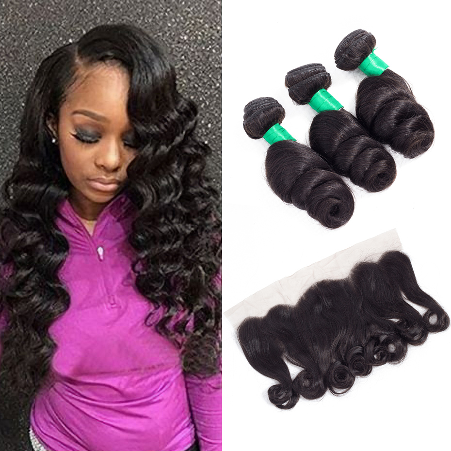 Gabrielle Brazilian Hair Weave Bundles With Lace Frontal Human Hair 3 Bundle Deals 4 Pcs Lot