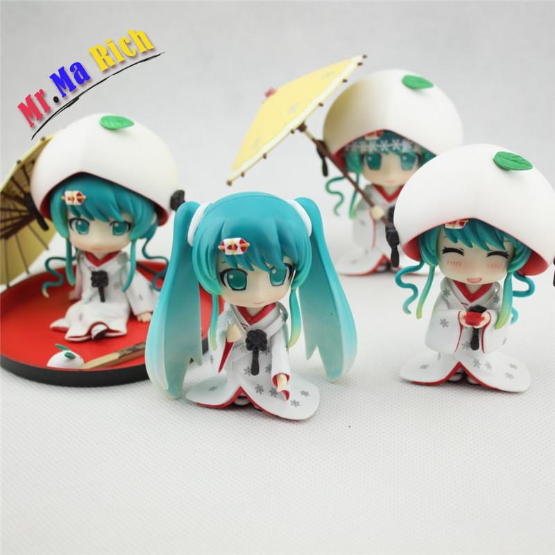 4pcs/set Hatsune Miku Figure Cute Nendoroid Snow Miku Strawberry White Kimono Pvc Action Figure Figma Doll Model Toys Brinquedos free shipping cute 4 nendoroid luck star izumi konata pvc action figure set model collection toy 27 mnfg032