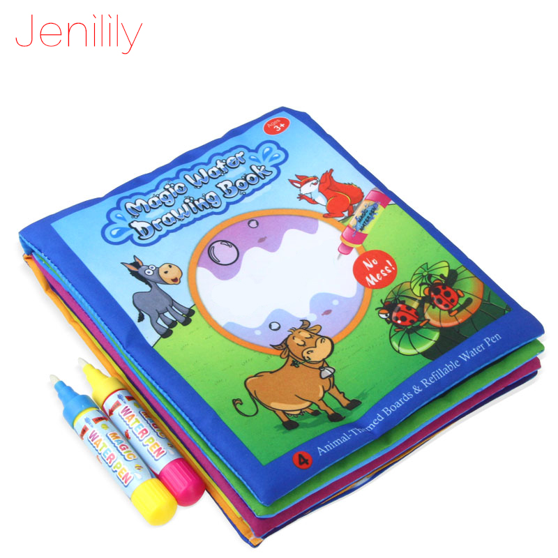 Jenilily JN1392-2 New Magic Kids Water Drawing Book + 2 Magic Pen / Children Intimate Coloring Book Water Animals Painting Board