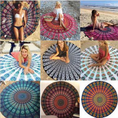 Peacock Mandala Round Tapestry Throw Hippie Gypsy Beach Blanket Yoga Mat Boho