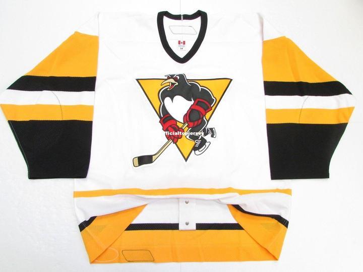 Pinguins de Scranton Wilkes Barre Pro Premier Branco Personalizado Duplo Costurado Jerseys